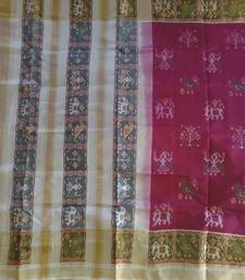 Buy rani and off white hand_woven silk saree with blouse silk-saree online