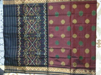 black and marun hand_woven silk saree with blouse