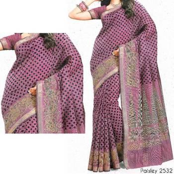 Printed cotton saree - printed sari - ethnic borders - cotton printed saree - with blouse 902788 2532