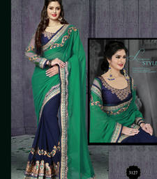 Buy Rama Green  and  Nevy Blue embroidered georgette saree with blouse traditional-saree online