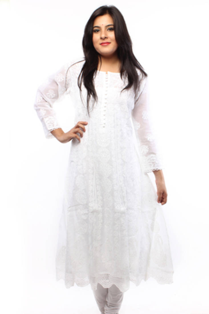 Buy Ada Hand Embroidered White Large Cotton Lucknowi