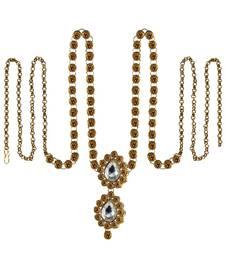Buy Waist belt Gold platted Gold Color stone size 44 inch with adjustable waist-belt online