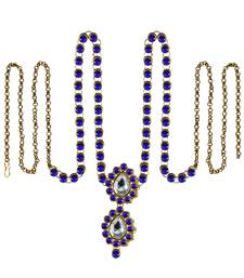 Buy Waist belt Gold platted Blue Color stone size 44 inch with adjustable waist-belt online