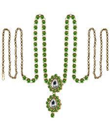 Buy Waist belt Gold platted Green Color stone size 44 inch with adjustable waist-belt online