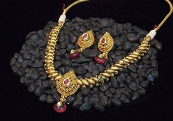 Ethnic traditional golden, COLORED STONE necklace set
