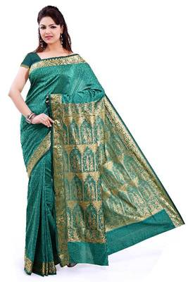 ISHIN Poly silk Baluchari Green Saree-STCS-19