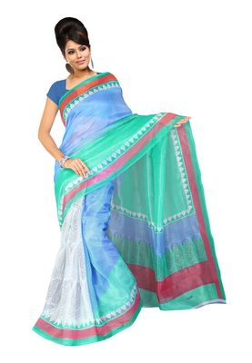 Fabdeal White Super Net Saree With Blouse Piece