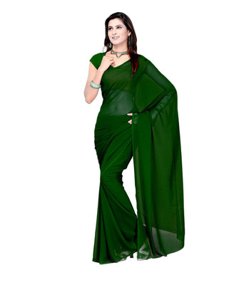 Dark green plain georgette saree with blouse