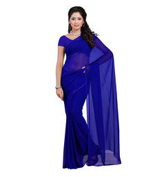 Buy Royal blue plain georgette saree with blouse below-400 online