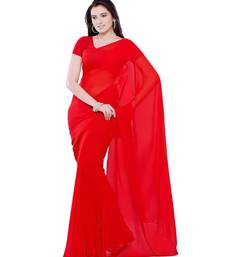Buy Red plain georgette saree with blouse below-500 online