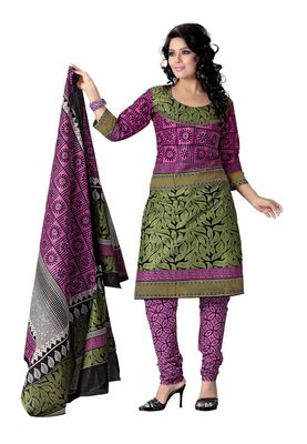 Cotton Bazaar Casual Wear Olive Green & Pink Colored Cotton Dress Material