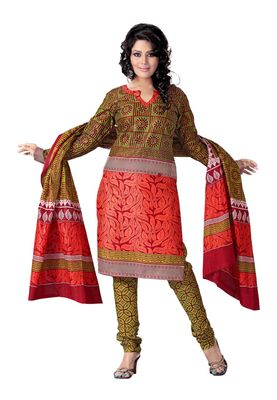Cotton Bazaar Casual Wear Olive Green & Orange Colored Cotton Dress Material