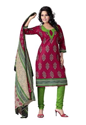 Cotton Bazaar Casual Wear Pink & Green Colored Cotton Dress Material