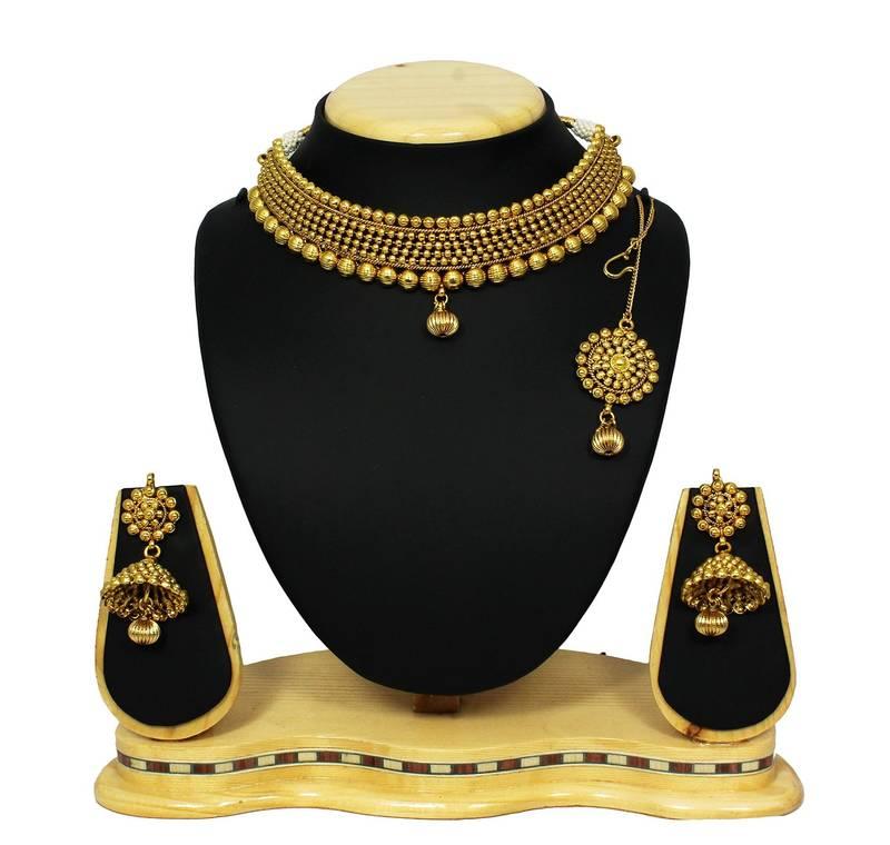 Antique Gold N Jadtar Set: Buy Traditional & Antique Neck Fit Necklace With Jhumki