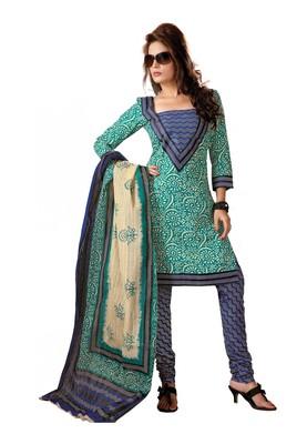 Cotton Bazaar Casual Wear Dark Blue & Teal Colored Cambric Cotton Salwar Kameez