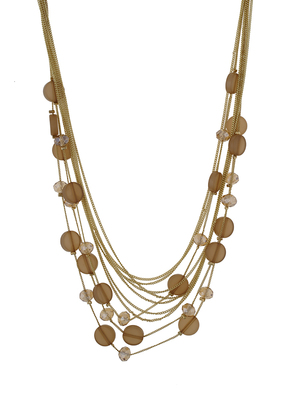 Fashionable and Trendy Brown Beads and Crystal Neck Piece