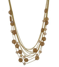 Buy Fashionable and Trendy Brown Beads and Crystal Neck Piece Necklace online