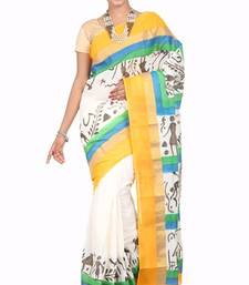 Buy cream printed cotton saree with blouse kerala-saree online