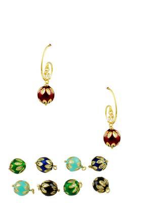 Multi Colour Meenakari Changeable Hoop Earrings Jewellery for Women - Orniza