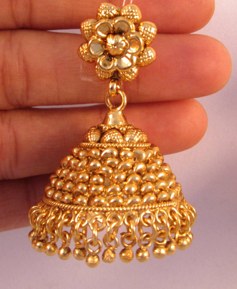 Buy EARRINGS JHUMKA CHANDELIER GOLD PLATED TEMPLE JEWELLERY Online