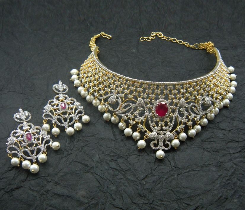 Buy Blue zircon american diamonds necklace sets Online