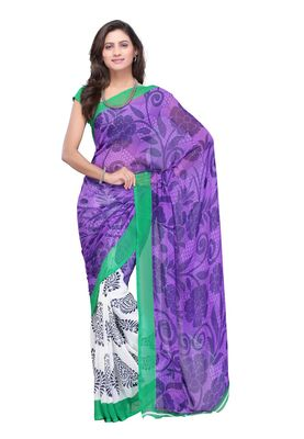 Fabdeal White & Purple Colored Faux Georgette Saree With Unstiched Blouse