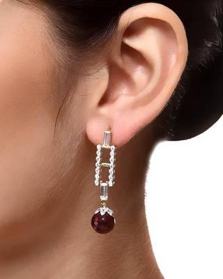 Aradhyaa Wine Colour Bead & Zircon Earrings