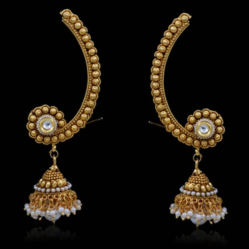 Buy TRADITONAL BEAUTIFUL GOLDEN EAR CUFF JHUMKA Online