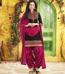 Buy black pure cotton embroidered unstitched salwar with dupatta punjabi-suit online