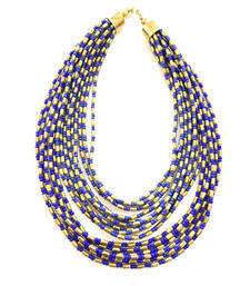 Buy Blue and Gold Beads Multistrand Choker Necklace Necklace online