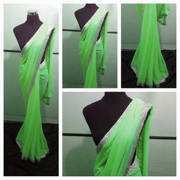 Neon green saree