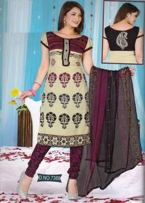 Dress Material Crepe Unstitched Elegant Salwar Kameez Suit D.No 7369