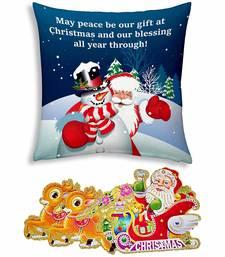 Buy Santa Print Design Soft Blue Cushion christmas-gift online