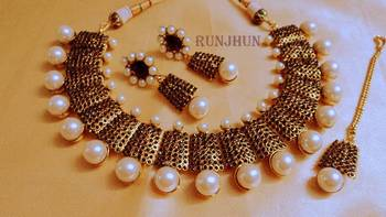 designer pearl and polki necklace black
