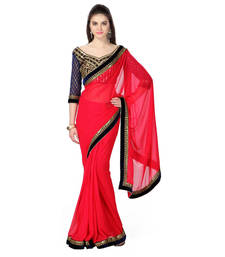 Buy Red Embroidery Blouse Work chiffon saree with blouse other-saree online