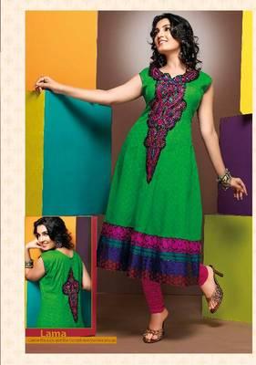 ISHIN Cotton Green kurti Lama_XL