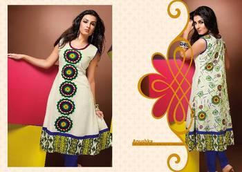 ISHIN Cotton Off-White kurti Anushka_XL