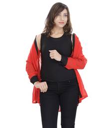 Buy Red Chiffon Women Shirt with Black Inner girls-jackets-coat online
