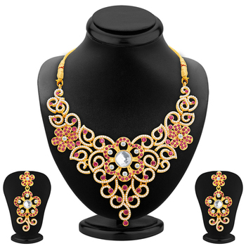 Glittery Gold Plated AD Necklace Set For Women