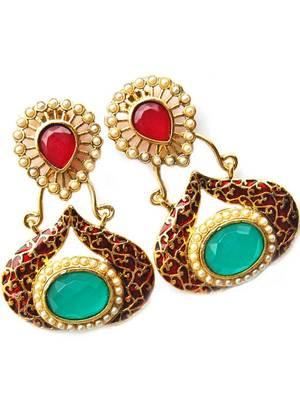 Maayra Maroon Green Party Traditional Earrings