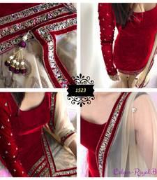 Buy Red embroidered velvet semi stitched salwar with dupatta punjabi-suit online