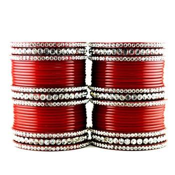acrylic plastic suhag panjubi chura red colour  size-2.4,2.6,2.8,2.10