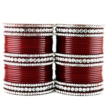 acrylic plastic suhag panjubi chura maroon colour  size-2.4,2.6,2.8,2.10