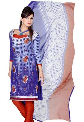 Fabdeal Blue & White Colored Crepe Jacquard Unstitched Salwar Suit