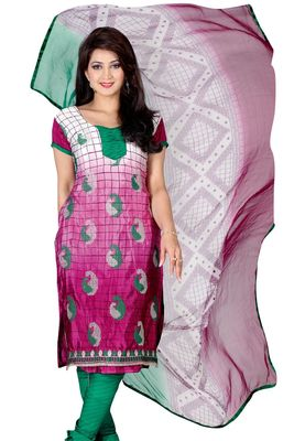 Fabdeal Magenta Colored Crepe Jacquard Unstitched Salwar Suit