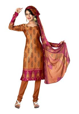 Fabdeal Mustered Colored Crepe Jacquard Unstitched Salwar Suit