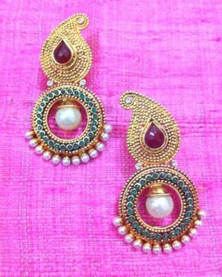 Red Green Stone Paisley pearl golden polki earring , Indian Bollywood ha70rg