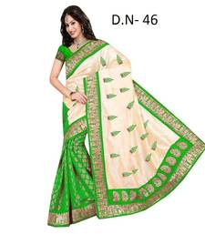 Buy green embroidered chanderi saree with blouse party-wear-saree online