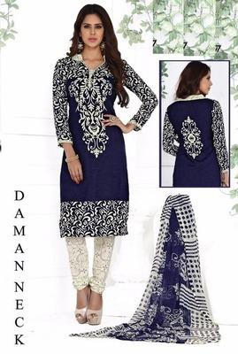 Navy Blue printed crepe unstitched salwar with dupatta