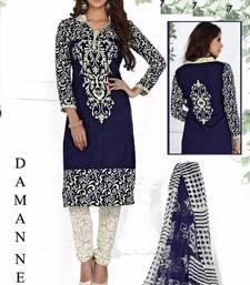 Blue printed crepe unstitched salwar with dupatta shop online